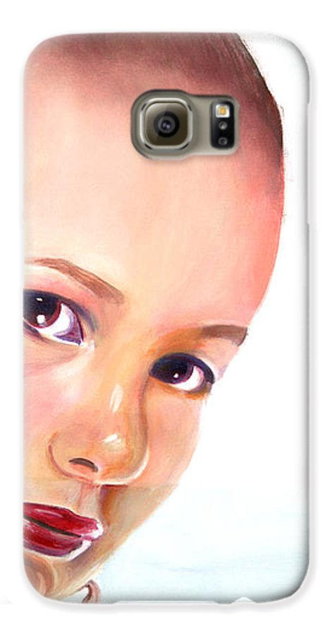 Portrait Galaxy S6 Case featuring the painting Christine by Fiona Jack