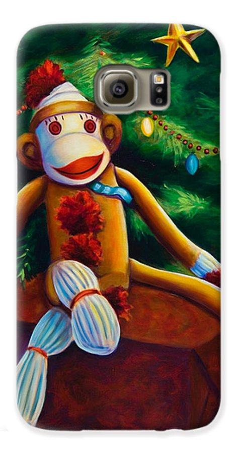Sock Monkey Galaxy S6 Case featuring the painting Christmas Made Of Sockies by Shannon Grissom