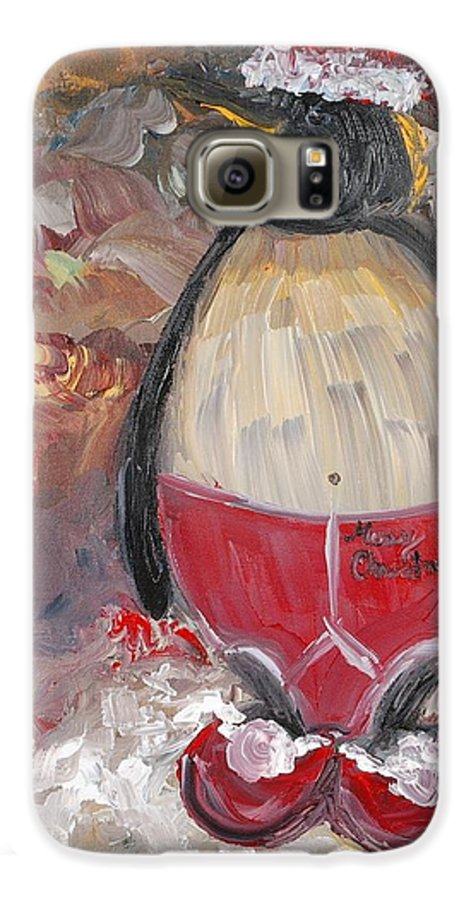 Penguin Galaxy S6 Case featuring the painting Christmas Penguin by Nadine Rippelmeyer