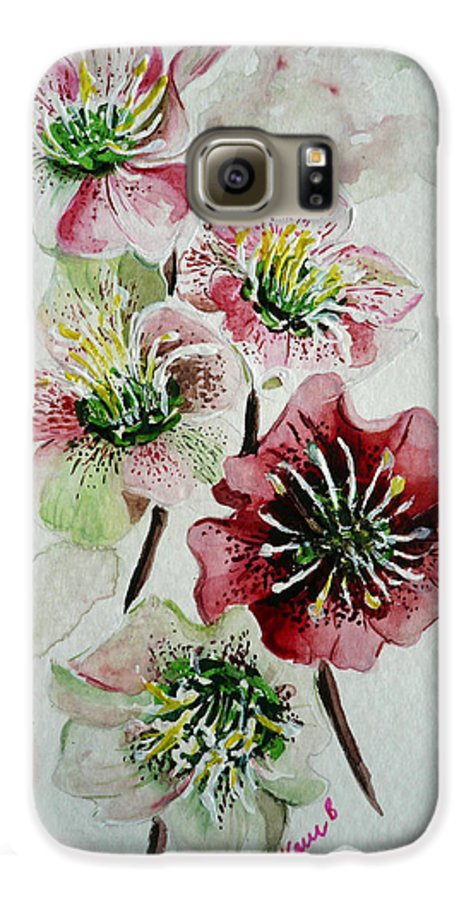 Floral Flower Pink Galaxy S6 Case featuring the painting Christmas Rose by Karin Dawn Kelshall- Best