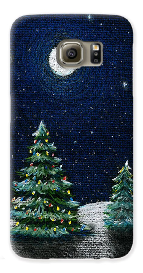 Christmas Trees Galaxy S6 Case featuring the drawing Christmas Trees In The Moonlight by Nancy Mueller