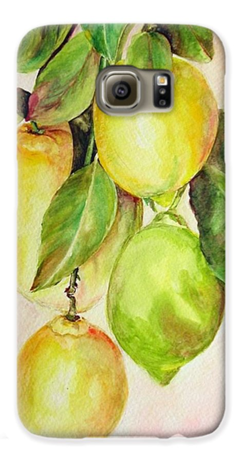 Still Life Galaxy S6 Case featuring the painting Citrons by Muriel Dolemieux