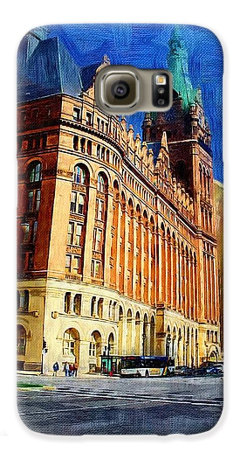Architecture Galaxy S6 Case featuring the digital art City Hall And Lamp Post by Anita Burgermeister