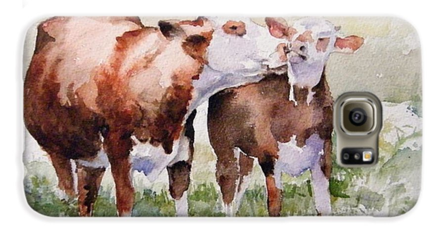 Cows Galaxy S6 Case featuring the painting Clean Behind The Ears by Debra Jones