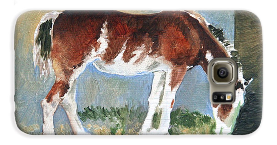 Horse Galaxy S6 Case featuring the painting Clydesdale Colt Pad by Eileen Hale