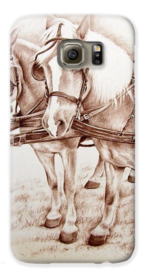 Horses Galaxy S6 Case featuring the drawing Coach Horses by Nicole Zeug