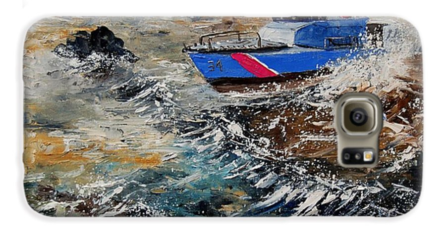 Sea Galaxy S6 Case featuring the painting Coastguards by Pol Ledent
