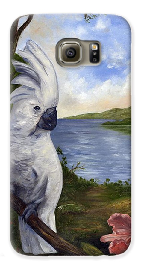 Landscape Galaxy S6 Case featuring the painting Cockatoo And Orchid by Anne Kushnick