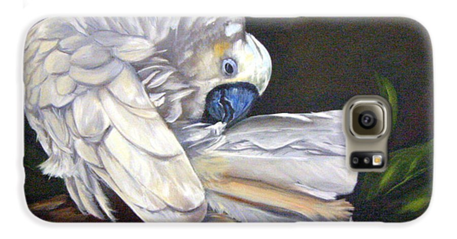 Birds Galaxy S6 Case featuring the painting Cockatoo Preening by Anne Kushnick