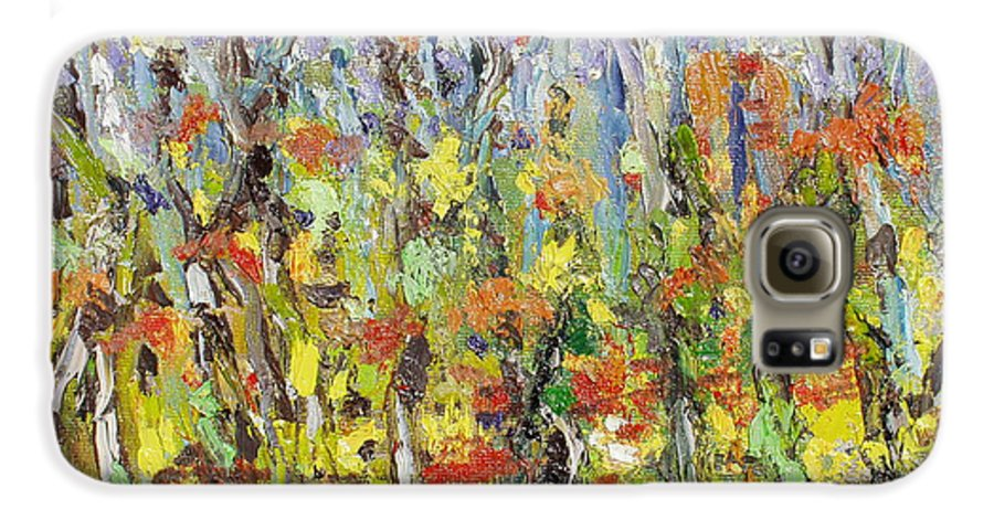Autumn Abstract Paintings Galaxy S6 Case featuring the painting Colorful Forest by Seon-Jeong Kim