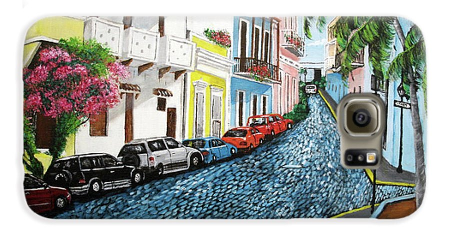 Old San Juan Galaxy S6 Case featuring the painting Colorful Old San Juan by Luis F Rodriguez