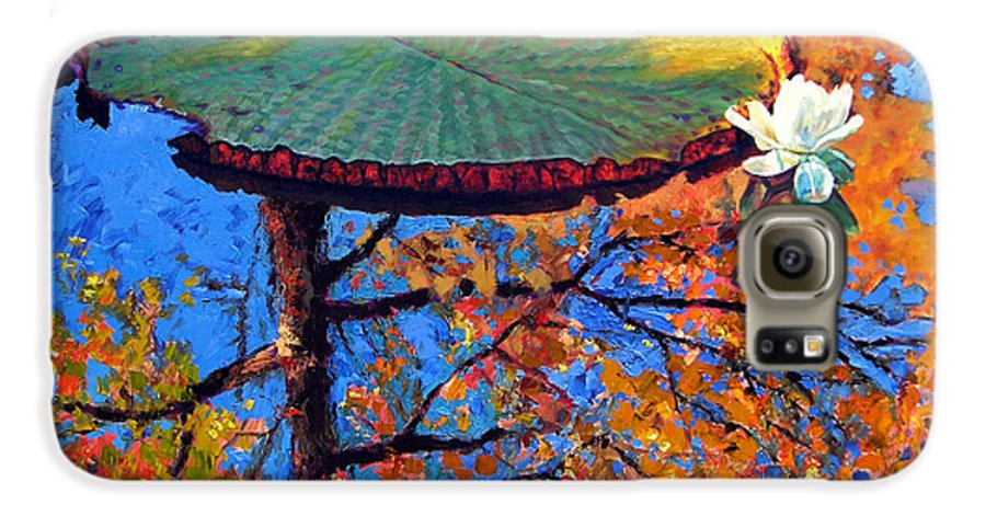 Fall Galaxy S6 Case featuring the painting Colors Of Fall On The Lily Pond by John Lautermilch