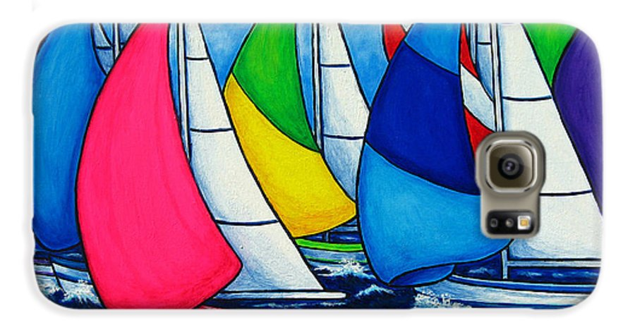 Boats Galaxy S6 Case featuring the painting Colourful Regatta by Lisa Lorenz