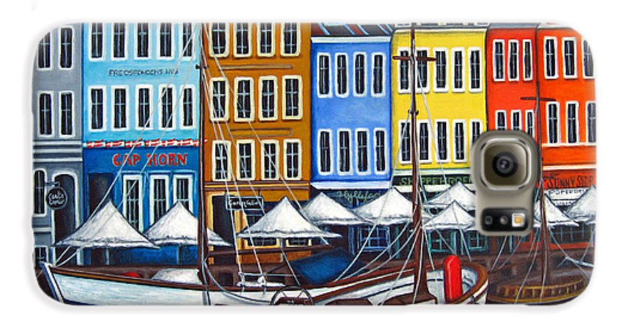 Nyhavn Galaxy S6 Case featuring the painting Colours Of Nyhavn by Lisa Lorenz