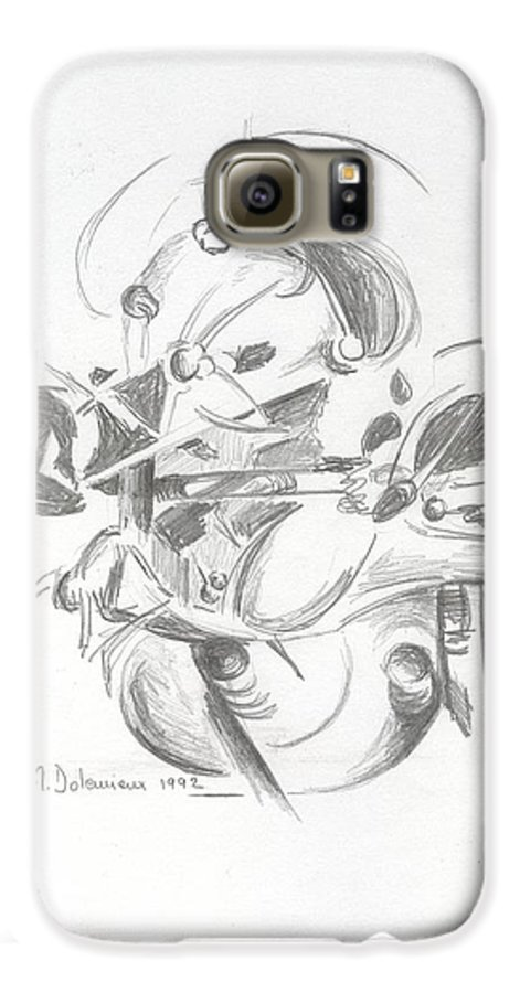 Abstract Galaxy S6 Case featuring the drawing Combat by Muriel Dolemieux