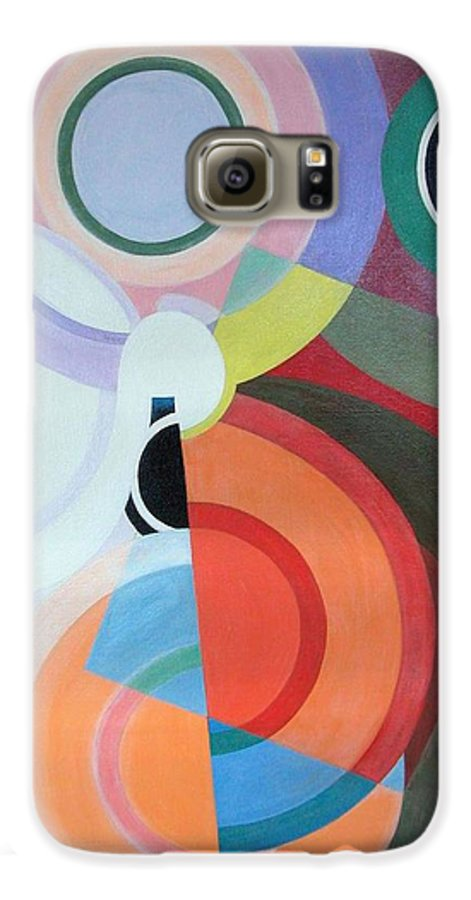 Abstract Galaxy S6 Case featuring the painting Complement by Muriel Dolemieux