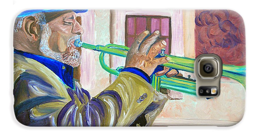 Street Musician Galaxy S6 Case featuring the painting Confederate Bugular by Michael Lee