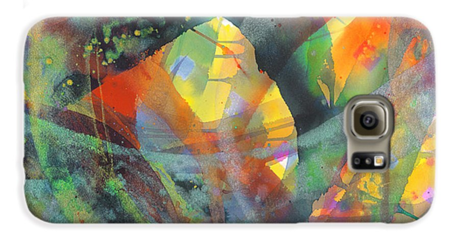Abstract Galaxy S6 Case featuring the painting Connections by Lucy Arnold