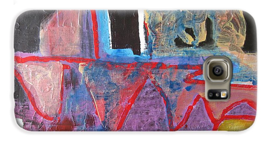 Abstract Paintings Galaxy S6 Case featuring the painting Contradiction Of Time by Seon-Jeong Kim