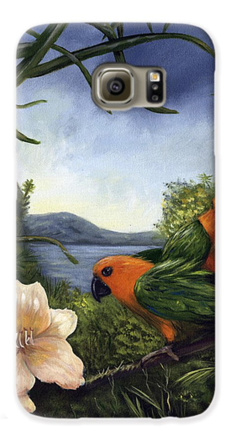 Landscape Galaxy S6 Case featuring the painting Conures by Anne Kushnick