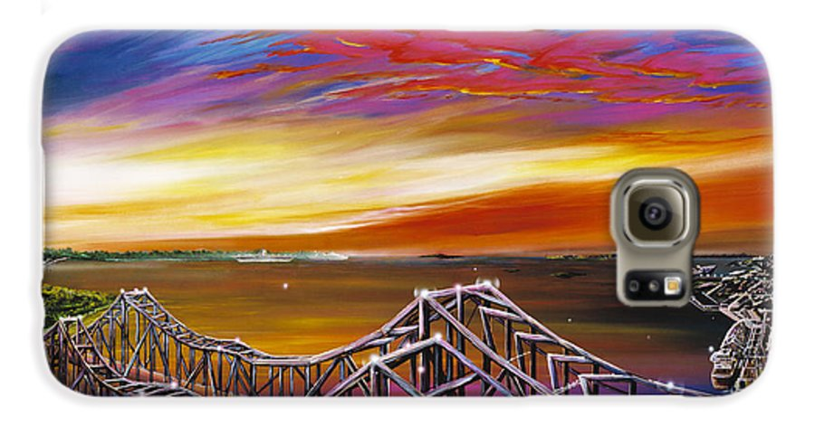 Clouds Galaxy S6 Case featuring the painting Cooper River Bridge by James Christopher Hill