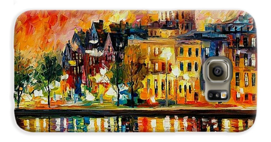 City Galaxy S6 Case featuring the painting Copenhagen Original Oil Painting by Leonid Afremov