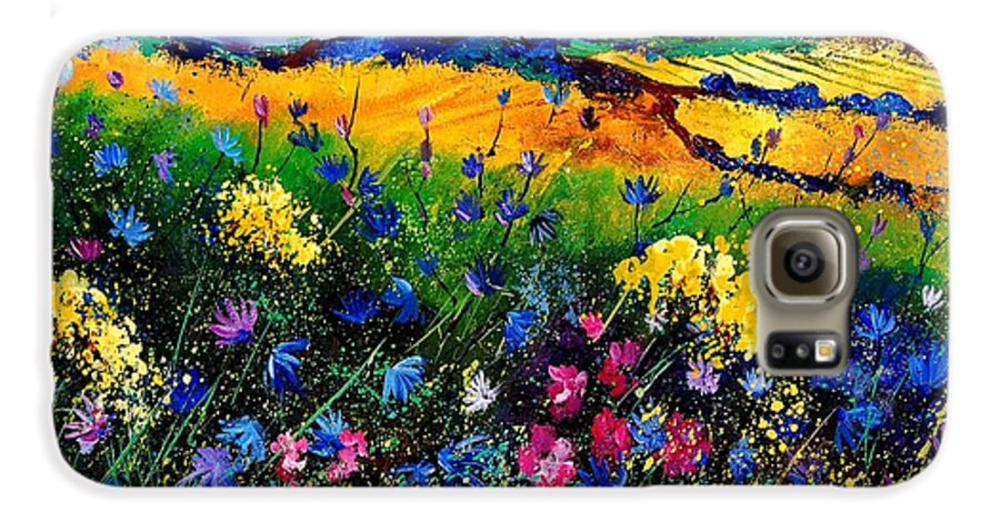 Flowers Galaxy S6 Case featuring the painting Cornflowers 680808 by Pol Ledent