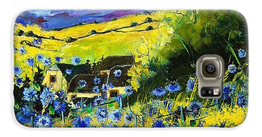 Flowers Galaxy S6 Case featuring the painting Cornflowers In Ver by Pol Ledent