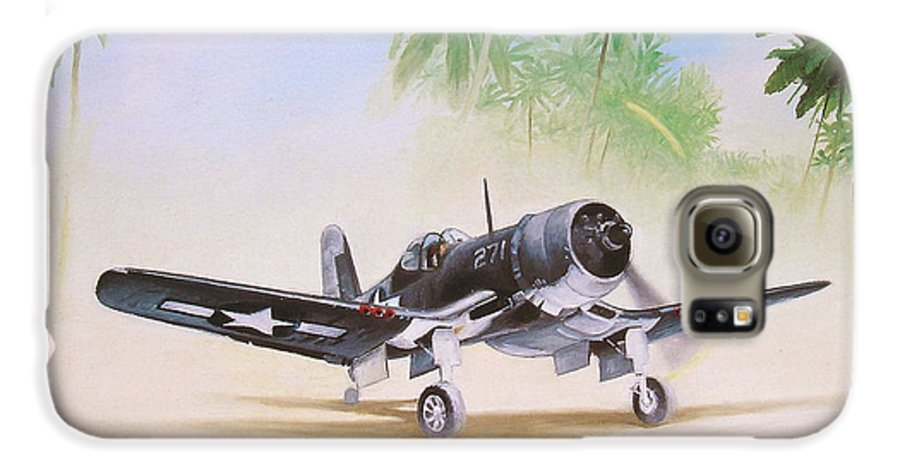 Aviation Galaxy S6 Case featuring the painting Corsair Preflight by Marc Stewart