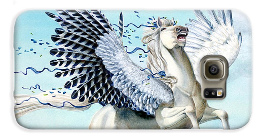 Artwork Galaxy S6 Case featuring the painting Cory Pegasus by Melissa A Benson