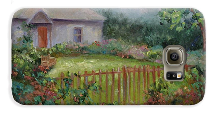 Cottswold Galaxy S6 Case featuring the painting Cottswold Cottage by Ginger Concepcion