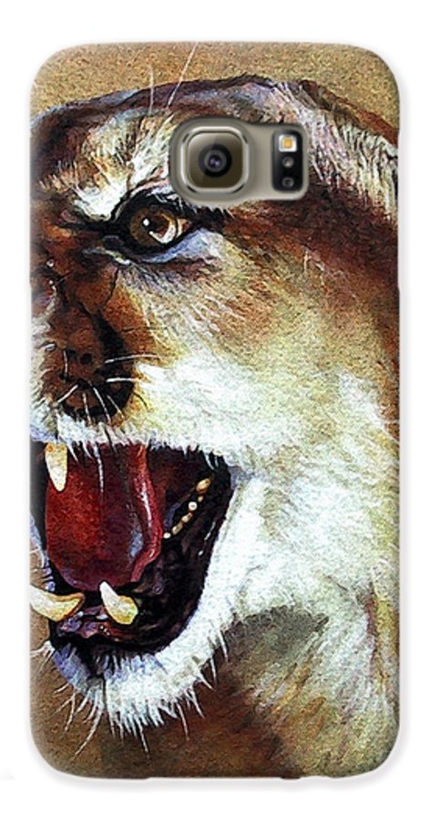 Southwest Art Galaxy S6 Case featuring the painting Cougar by J W Baker