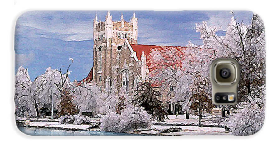 Winter Galaxy S6 Case featuring the photograph Country Club Christian Church by Steve Karol