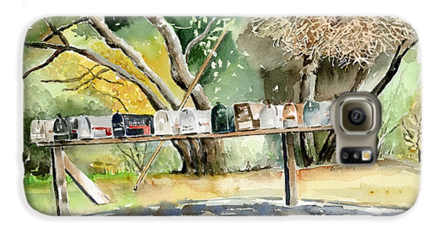 Mailboxes Galaxy S6 Case featuring the painting Country Mailboxes by Arline Wagner