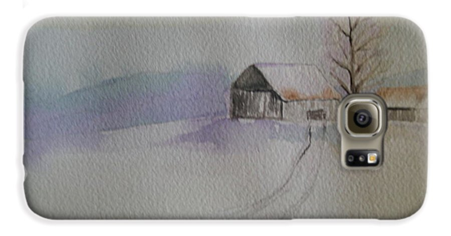 Barn Snow Winter Tree Landscape Cold Galaxy S6 Case featuring the painting Country Snow by Patricia Caldwell