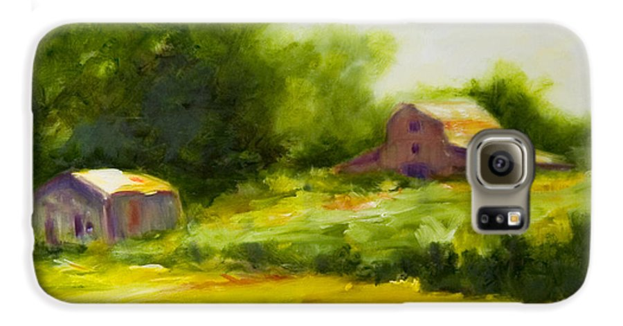 Landscape In Green Galaxy S6 Case featuring the painting Courage by Shannon Grissom