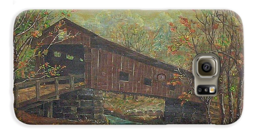 Bridge Galaxy S6 Case featuring the painting Covered Bridge by Phyllis Mae Richardson Fisher