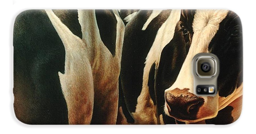 Cows Galaxy S6 Case featuring the painting Cows 1 by Hans Droog