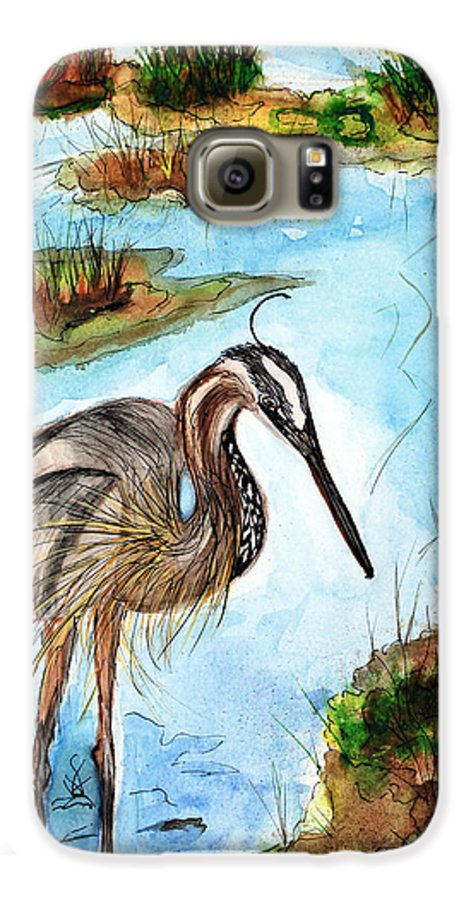 Birds Galaxy S6 Case featuring the painting Crane In Florida Swamp by Margaret Fortunato