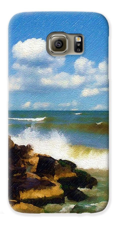 Seascape Galaxy S6 Case featuring the photograph Crashing Into Shore by Sandy MacGowan