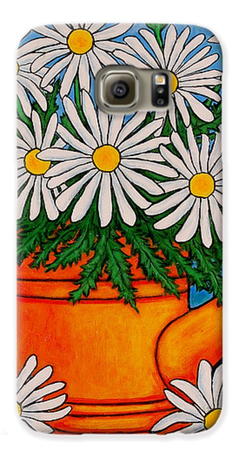 Daisies Galaxy S6 Case featuring the painting Crazy For Daisies by Lisa Lorenz