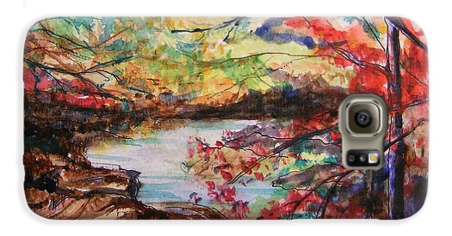 Creek Galaxy S6 Case featuring the painting Creek Blue Ridge Mountains by Lizzy Forrester