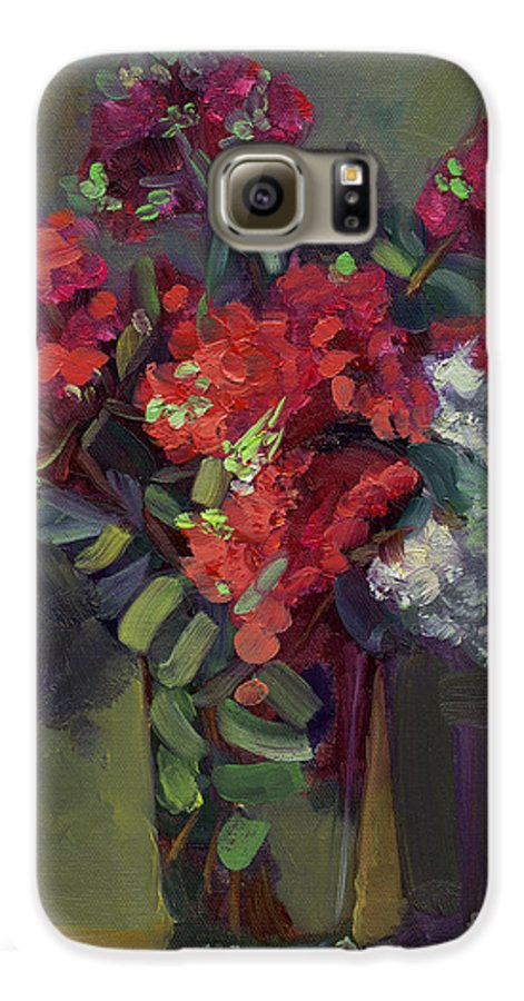 Floral Galaxy S6 Case featuring the painting Crepe Myrtles In Glass by Lilibeth Andre