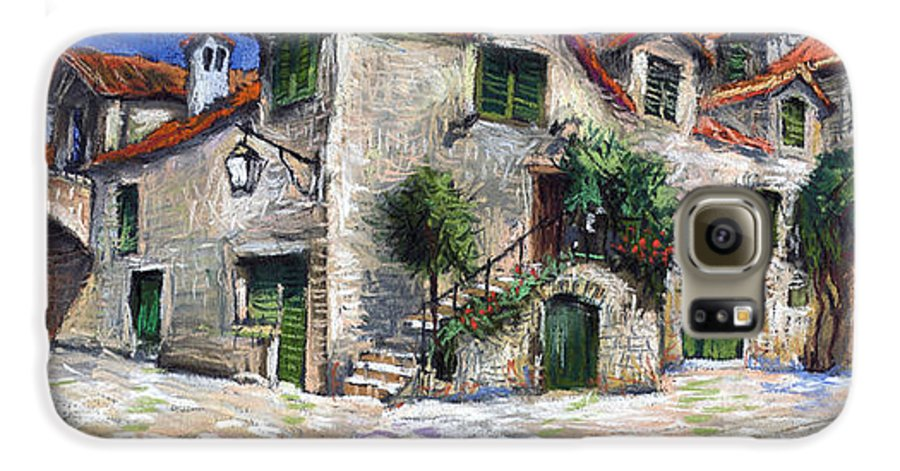 Pastel On Paper Galaxy S6 Case featuring the painting Croatia Dalmacia Square by Yuriy Shevchuk