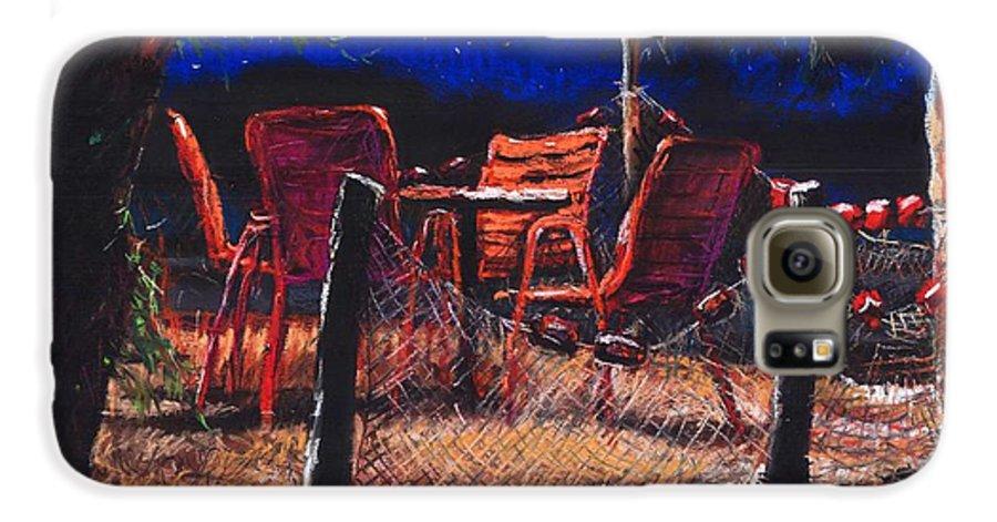 Pastel Galaxy S6 Case featuring the painting Croatia Fisherman Restaurant by Yuriy Shevchuk