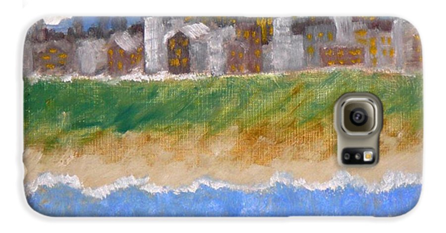 Seascape Galaxy S6 Case featuring the painting Crowded Beaches by R B