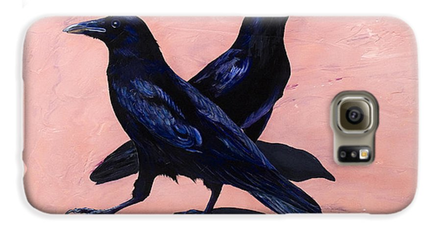 Crows Galaxy S6 Case featuring the painting Crows by Sandi Baker