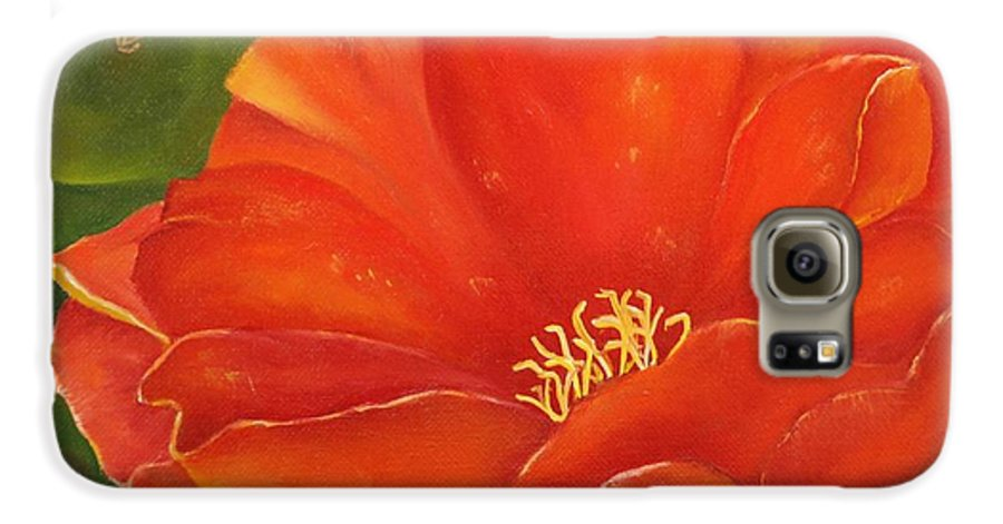 Cactus Galaxy S6 Case featuring the painting Cruces Bloom by Teresa Lynn Johnson