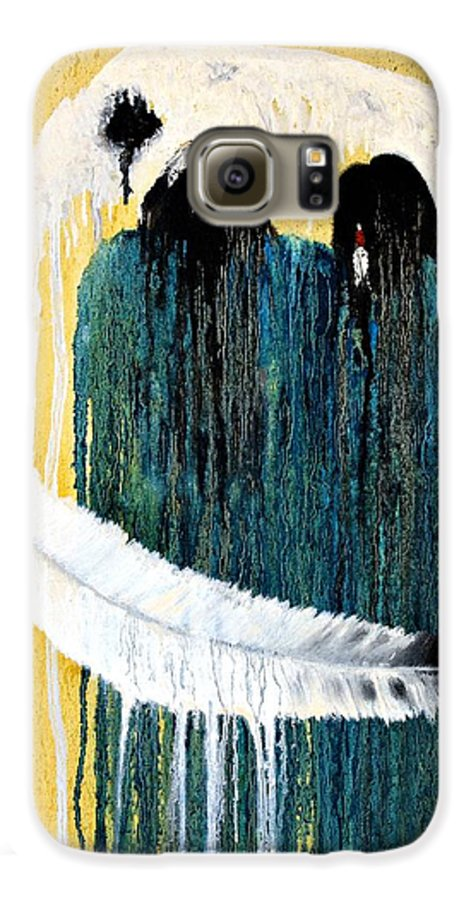 Native American Galaxy S6 Case featuring the painting Crying For A Vision by Patrick Trotter
