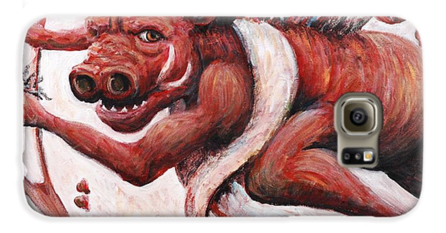 Pig Galaxy S6 Case featuring the painting Cupig by Nadine Rippelmeyer